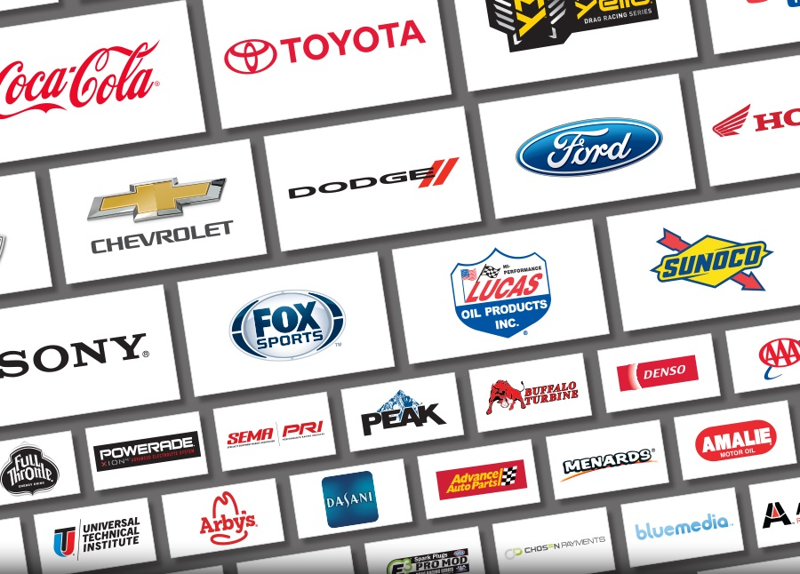 collage of NHRA sponsor logos, like Coca-Cola, Toyota, Chevrolet, Sony, Ford, Fox SPorts, and more.